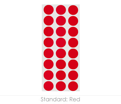 "0.5"" Red Round Labels on Sheets"