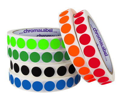 """12 COLORS 1000//ROLL  3//4/"""" CIRCLE COLOR CODED LABEL DOT STICKERS INVENTORY CODE"""