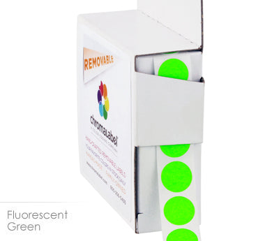"0.5"" Removable Neon Green Dot Labels"