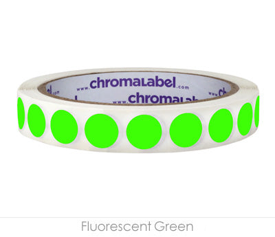 "0.5"" Neon Green Removable Circle Labels"
