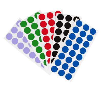 1/2 Sheeted Removable, Color-Code Dots: 1,200/Pack