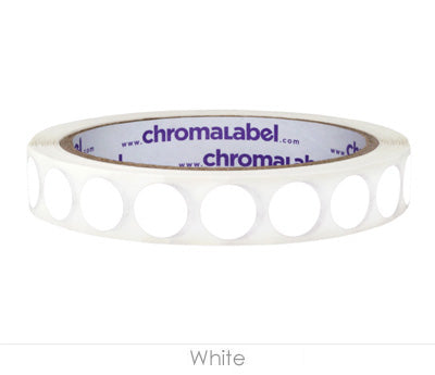 "0.5"" White Removable Circle Labels"