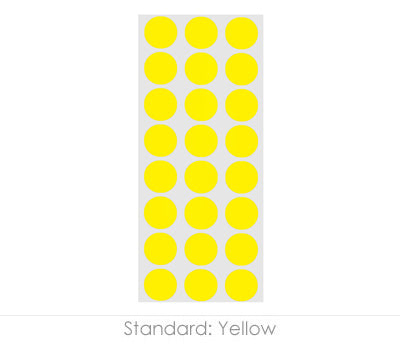 "0.5"" Yellow Round Labels on Sheets"