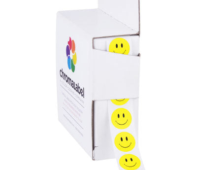 "0.5"" Yellow Smiley Face Sticker Dots"