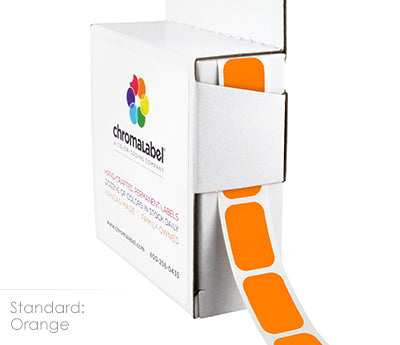 "1/2"" x 3/4"" Orange Rectangular Labels"