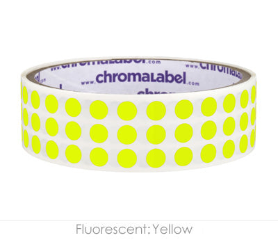 "0.25"" Neon Yellow Round Dot Stickers"