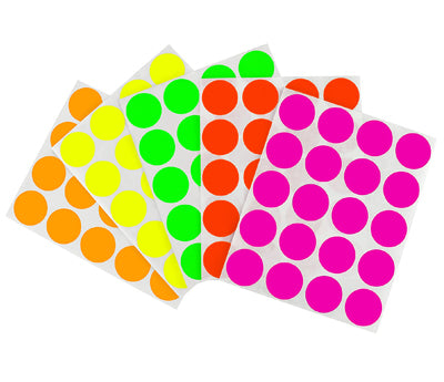 1 inch Assorted Fluorescent Removable Stickers on a Liner