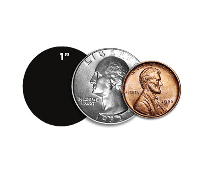 "1"" Dots Size Compared to Coins"