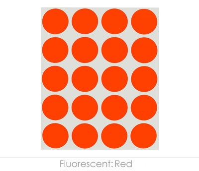 "1"" Neon Red Color Coding Dots"