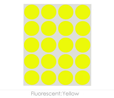 "1"" Neon Yellow Color Coding Dots"