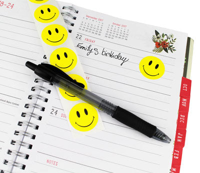 "1"" Smiley Face Dots in Planner"