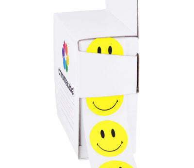 "1"" Yellow Smiley Face Dot Labels"