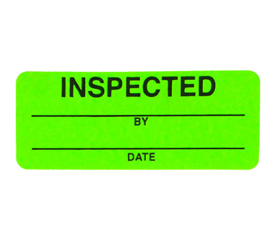 Green | Inspected 200//Dispenser Box ChromaLabel 1 x 2-1//2 inch Fluorescent Quality Control Labels