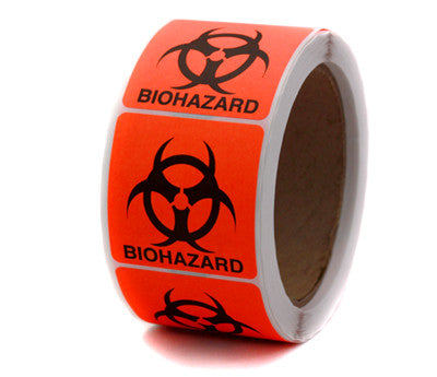 Biohazard Warning Labels - 2 x 2 - 500/Roll