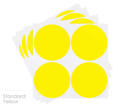2 inch Yellow Color Coding Stickers on Sheeted Liners