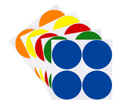 2 inch Assorted Removable Color Coding Stickers on Sheeted Liners
