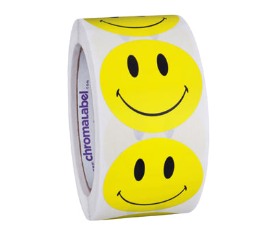 "2"" Round Smiley Face Labels"