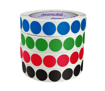 100//Roll Red ChromaLabel 3//4 inch See-Through Colored Dots