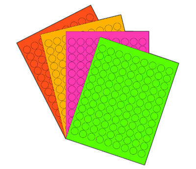 3/4 Printable Circle Labels - Neon Variety Pack: 25 Sheets/Pack