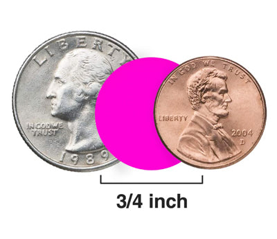 Size Comparison between 3-4 inch Labels and a US penny and Quarter
