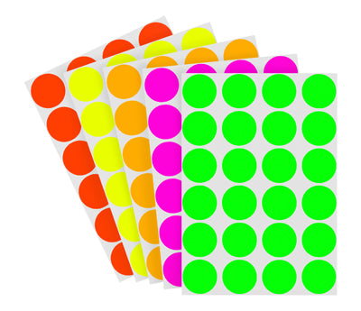 3-4 inch Assorted Fluorescent Removable Stickers on a Liner