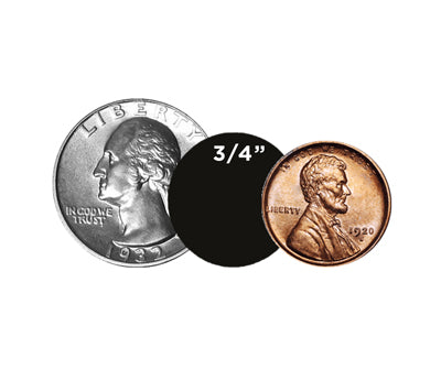 "0.75"" Dots Size Compared to Coins"