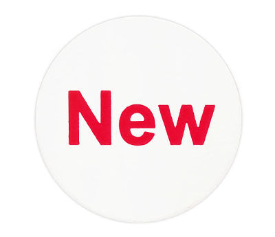 "White and Red ""NEW"" Round Label"