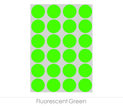 "0.75"" Fluorescent Green Sheeted Removable Dots"