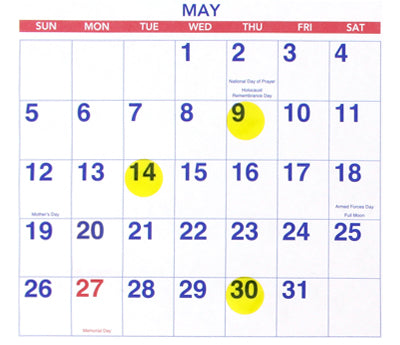 "0.75"" Transparent Yellow Labels on Calendar"