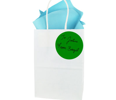 "Gift Bag with a sticker reading ""To Justine From Brigid"""