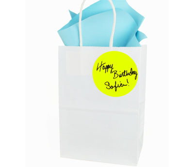 "Gift Bag with a sticker reading ""Happy Birthday Sophia"""
