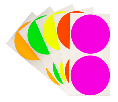 3 inch Assorted Fluorescent Removable Color Coding Stickers on Sheeted Liners