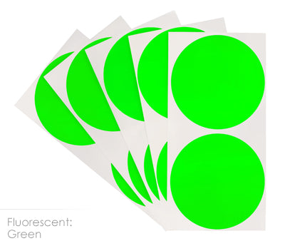 3 inch FLO Green Removable Color Coding Stickers on Sheeted Liners