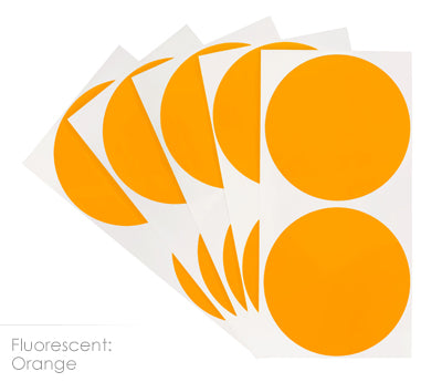 3 inch FLO Orange Removable Color Coding Stickers on Sheeted Liners