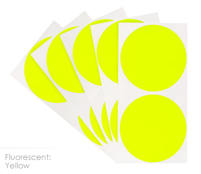 3 inch FLO Yellow Removable Color Coding Stickers on Sheeted Liners