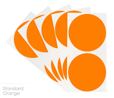 3 inch Orange Removable Color Coding Stickers on Sheeted Liners