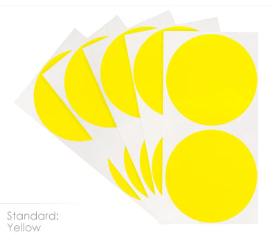 3 inch Yellow Removable Color Coding Stickers on Sheeted Liners