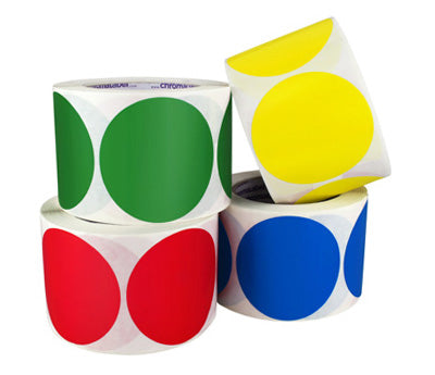 3 Permanent, Color Code Dots, Inventory Labels: 500/Roll