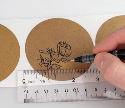"3"" Writable Kraft Decorative Dot Stickers"