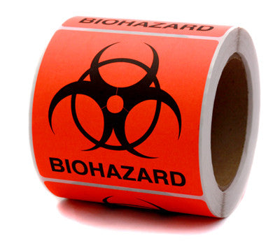 "4"" x 4"" Fluorescent Red Biohazard Safety Stickers"