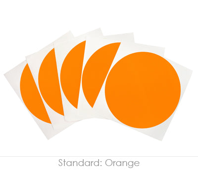 4 inch Orange Removable Stickers on a Liner