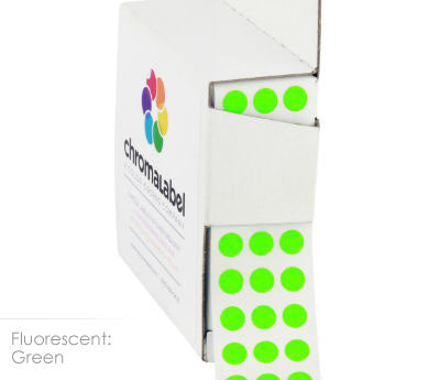 "0.25"" Neon Green Dot Stickers"