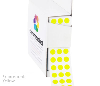 "0.25"" Neon Yellow Dot Stickers"