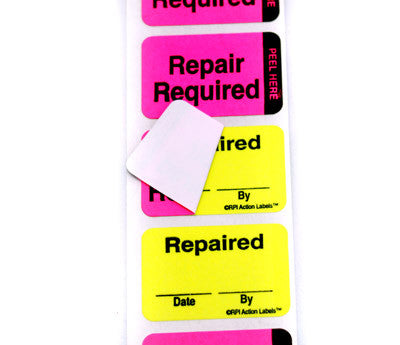 """Repair Required / Repaired"" Double-Layer Action Labels  ..."