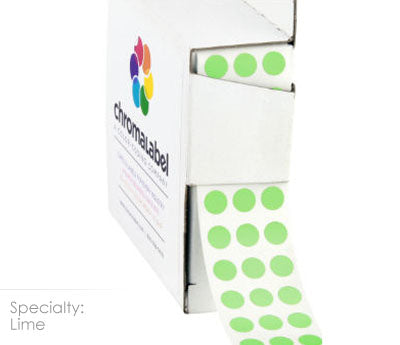 "0.25"" Lime Dot Stickers"