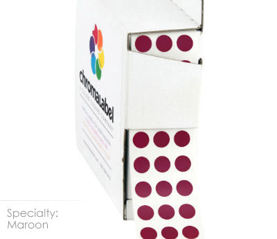 "0.25"" Maroon Dot Stickers"