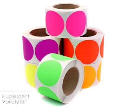 """3"""" Color-Code Dot Variety Kit (Fluorescent Colors): 3,000..."""