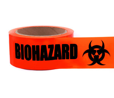 BIOHAZARD - Imprinted 2 PVC Tape: 55 yds