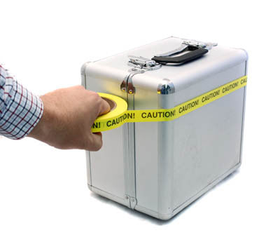 Sticking Safety Tape on Carrying Case