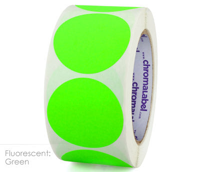 "2"" Neon Green Inventory Dot Labels"
